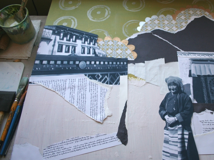 This is a collage I'm working on right now. The text I'm incorporating is from an old blog entry.