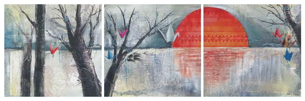 Paper Cranes Triptych